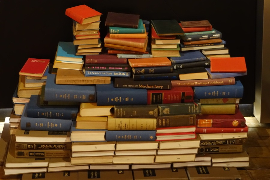 Pile of books on the floor at the Tasmanian Museum and Art Gallery, Hobart