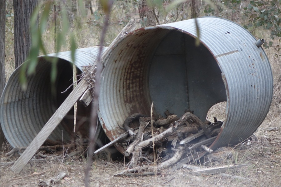 Two old galvanised iron water tanks turned on side to make wood sheds