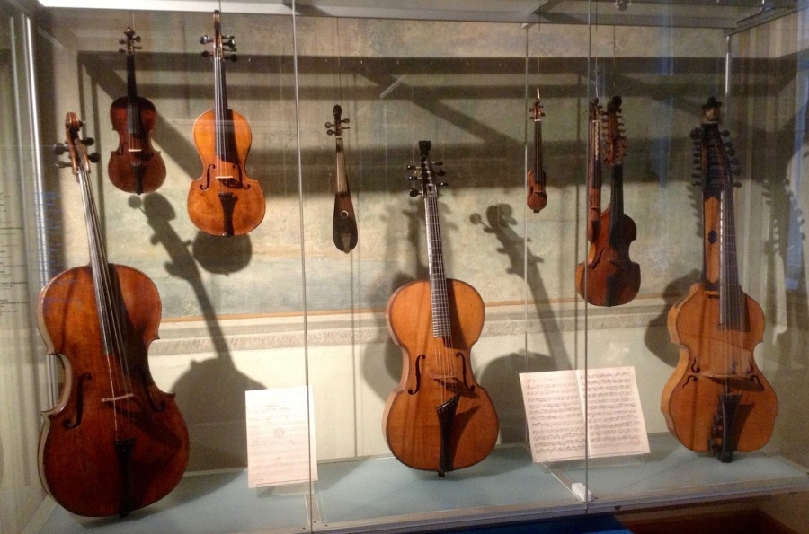 Display cabinet of sting instruments at Czech Museum of Music, Prague