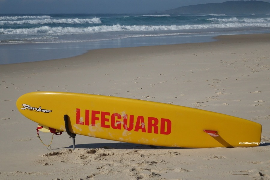 lifeguard surfboard on beach at Byron Bay, NSW