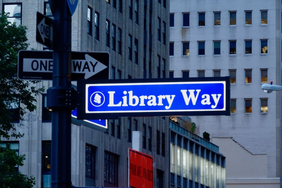 Library Way street name sign, New York